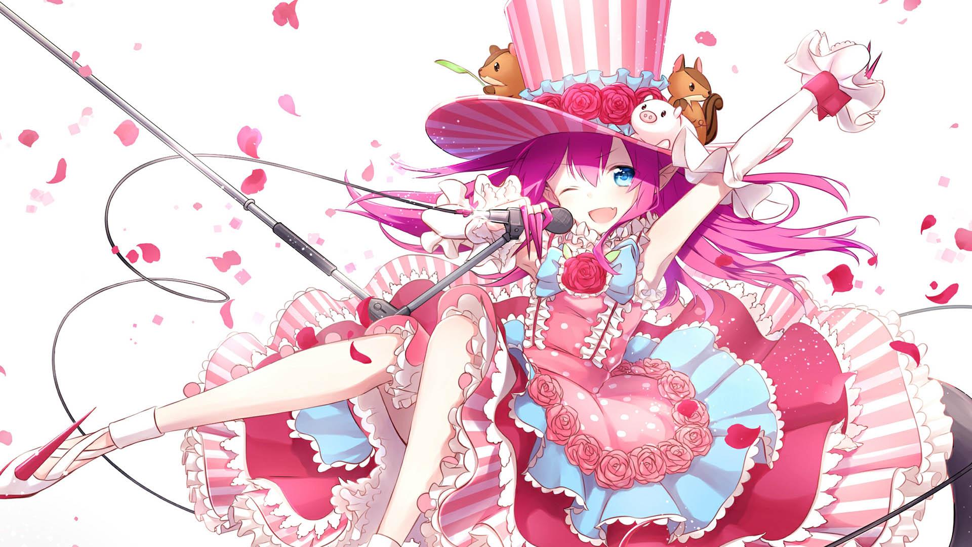 日本插画彩色美女桌面壁纸
