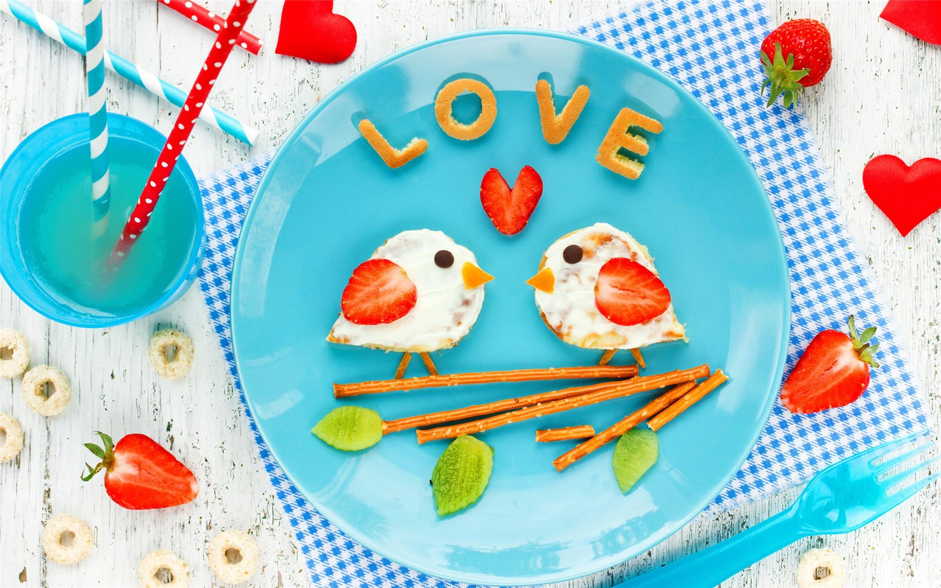 浪漫情人节美味早餐高清win7电脑桌面壁纸