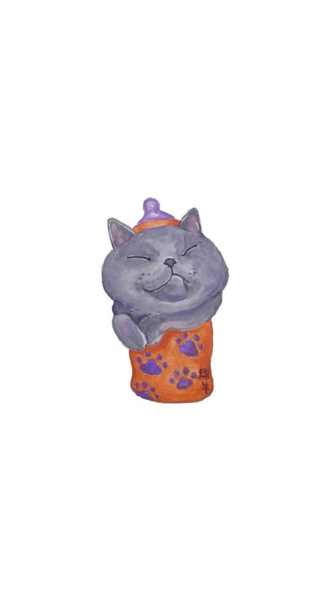 可爱宠物卡通小猫咪图片简约手机壁纸下载
