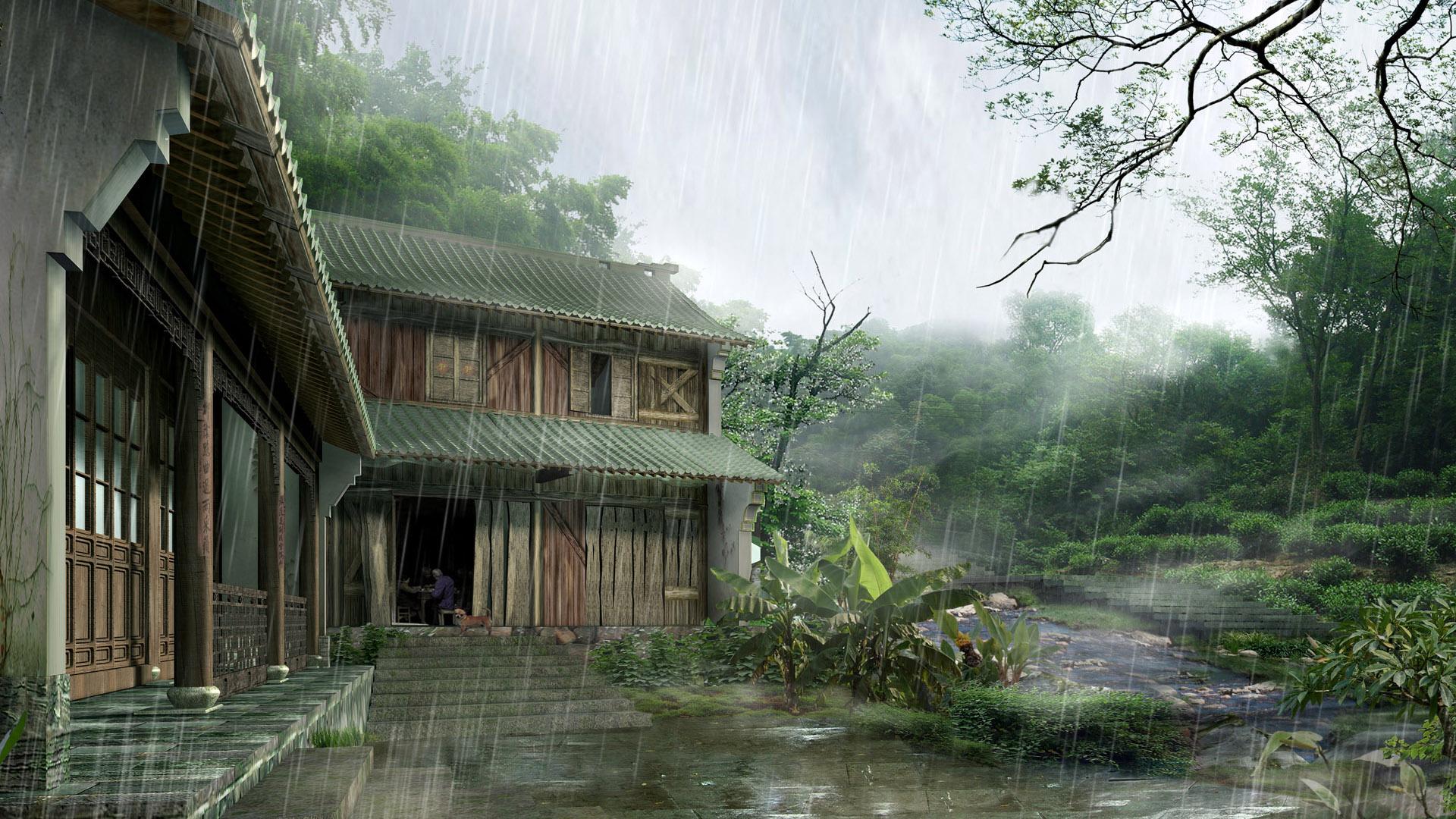 唯美意境雨景图片动态电脑桌面壁纸