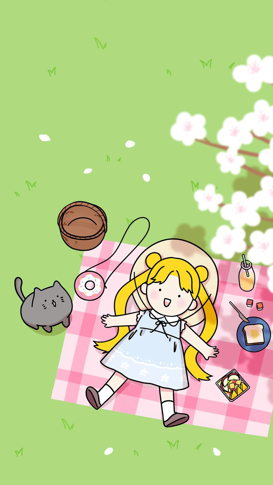 少女心主题简约手绘清新日系全屏壁纸
