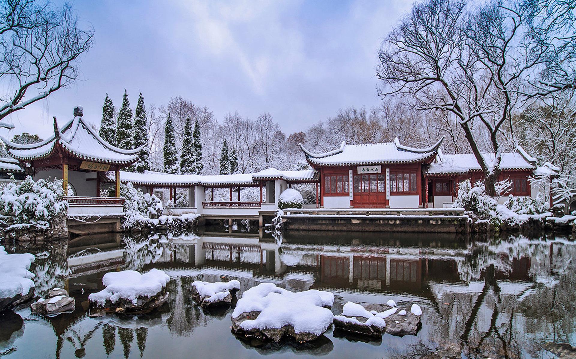 南京园林冬日雪景电脑桌面壁纸全屏