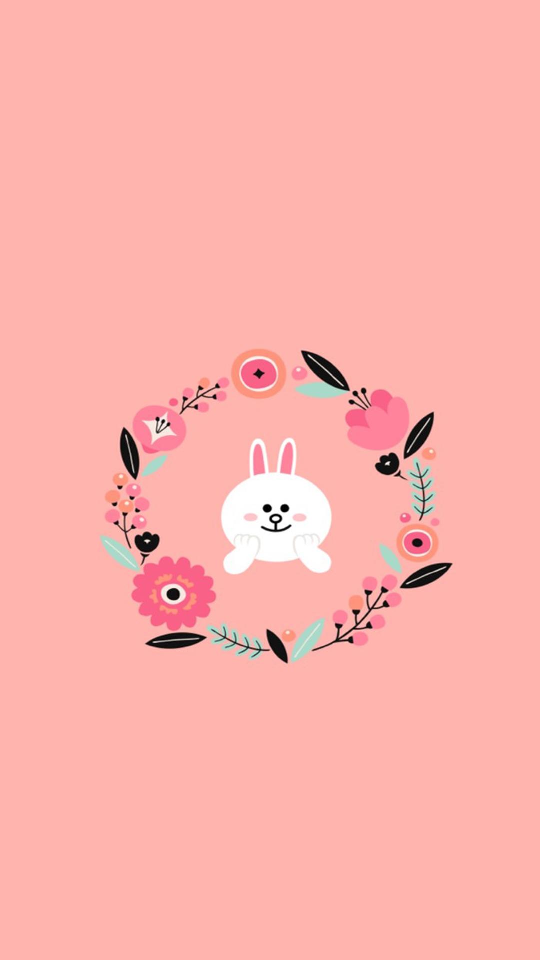 清新蓝色萌系卡通图片手机兔子壁纸