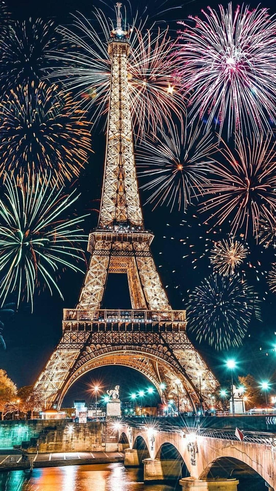 巴黎铁塔好看的城市烟花美景手机壁纸