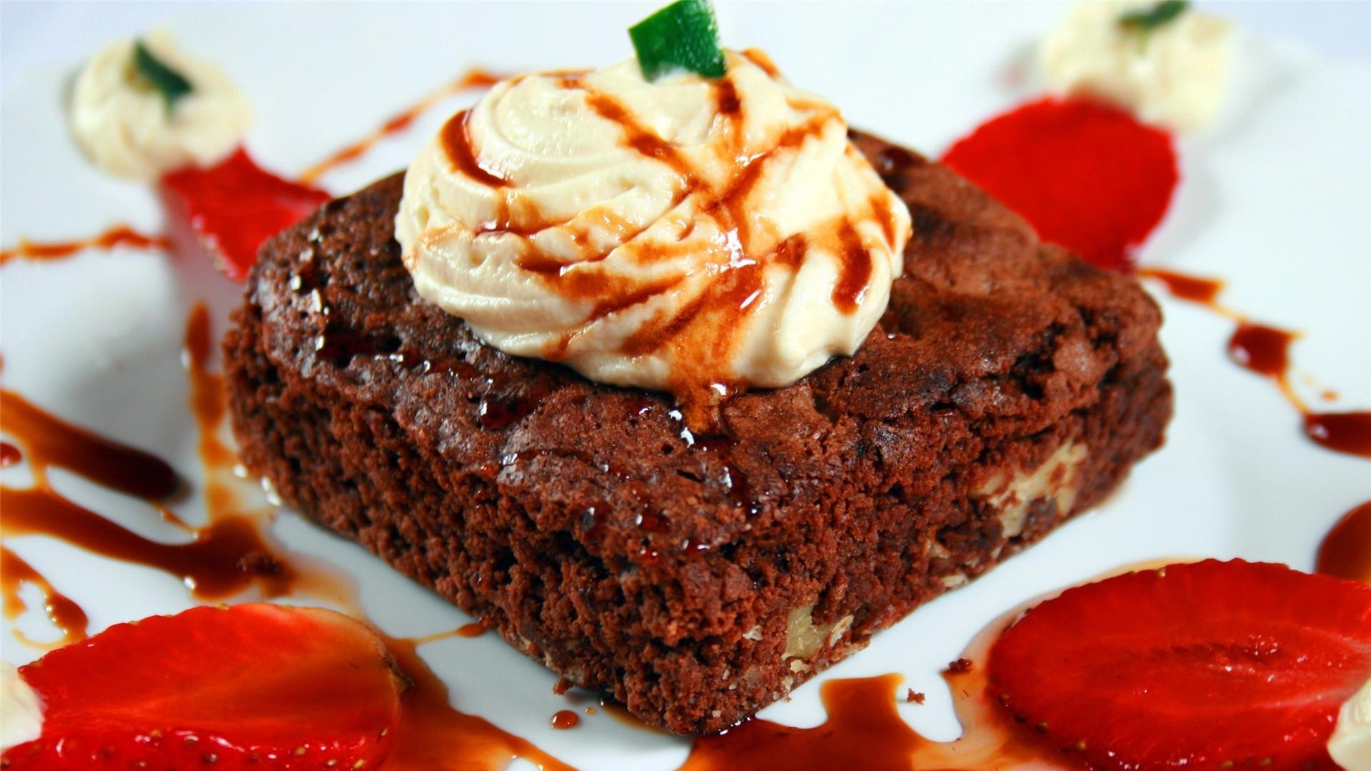 美味高颜值巧克力蛋糕甜品美食壁纸图片