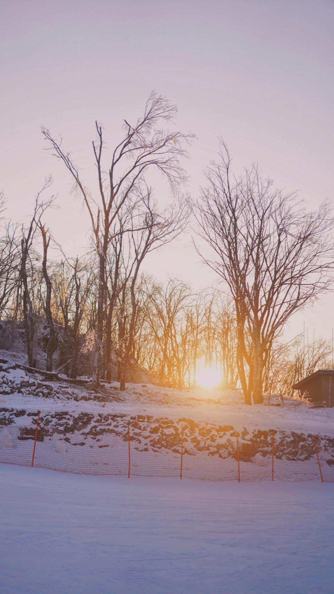 雪后黄昏夕阳优美景色手机壁纸