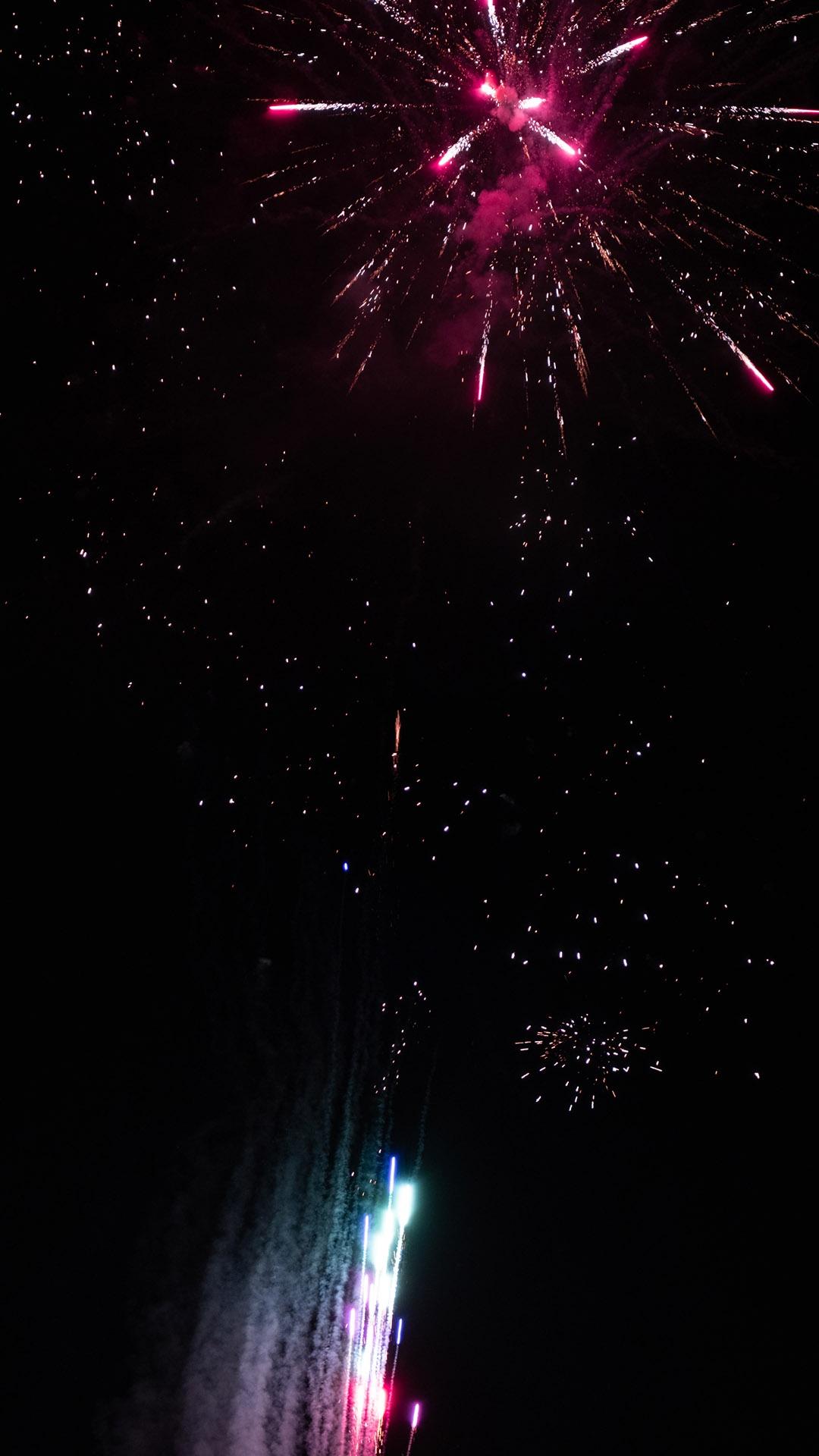 夜空中璀璨迷人的烟花唯美城市壁纸