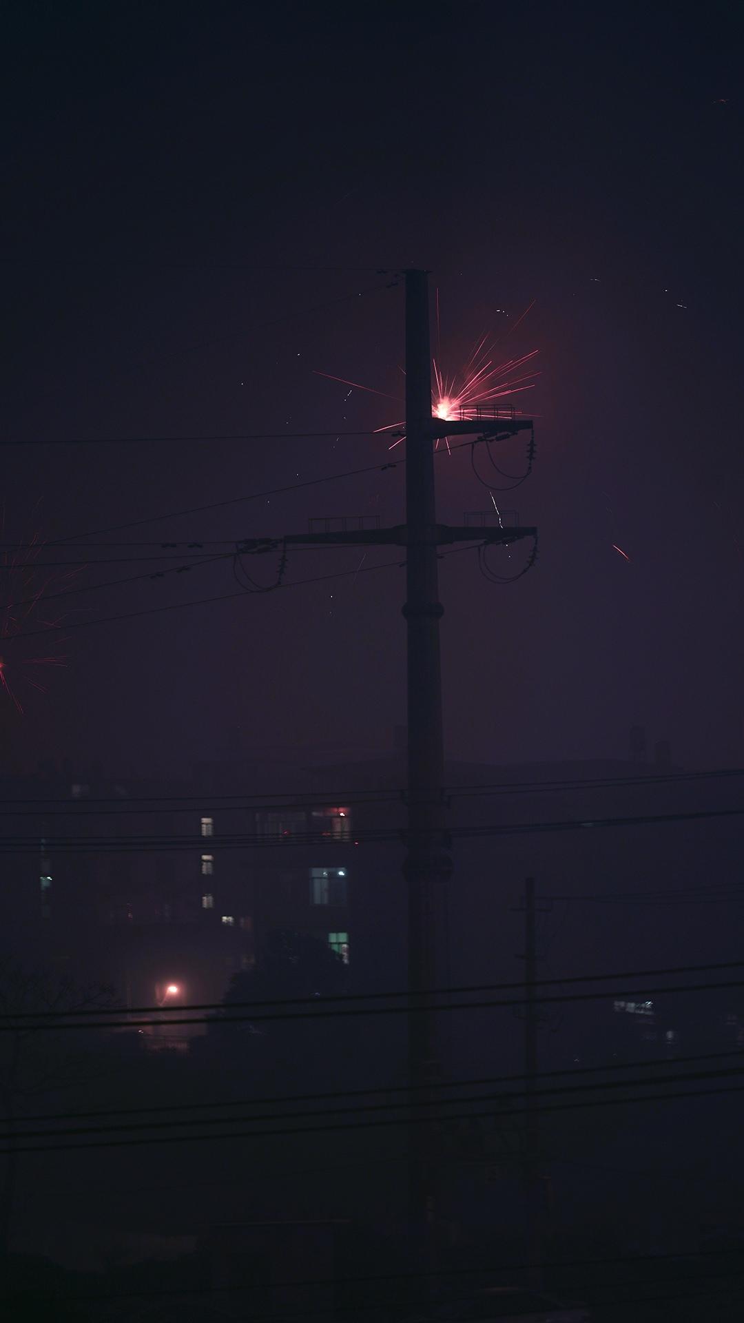 夜空中的绚烂烟花美景