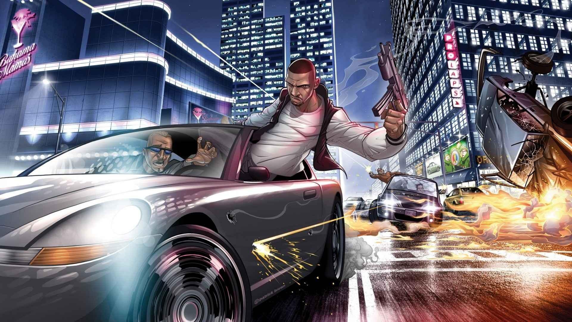 街头枪战游戏插画图片