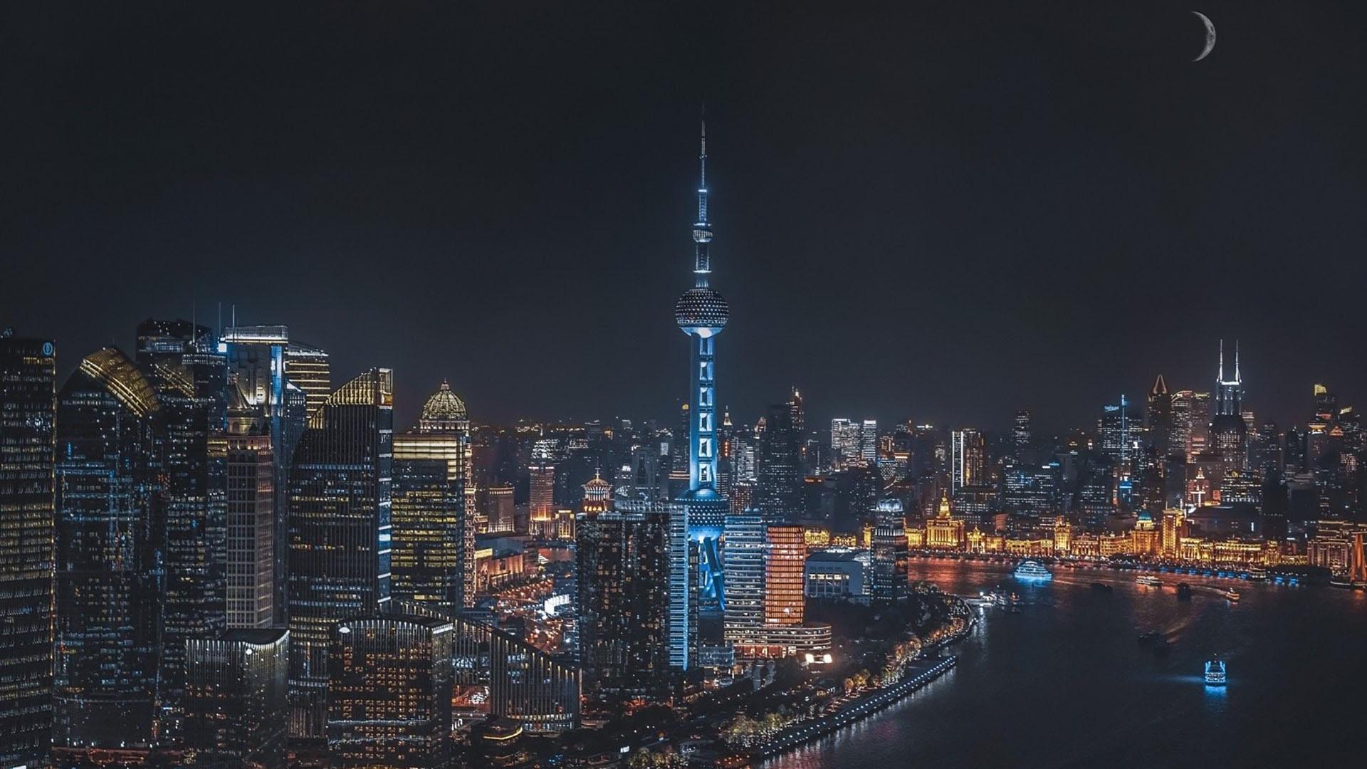 夜晚城市唯美景色图片