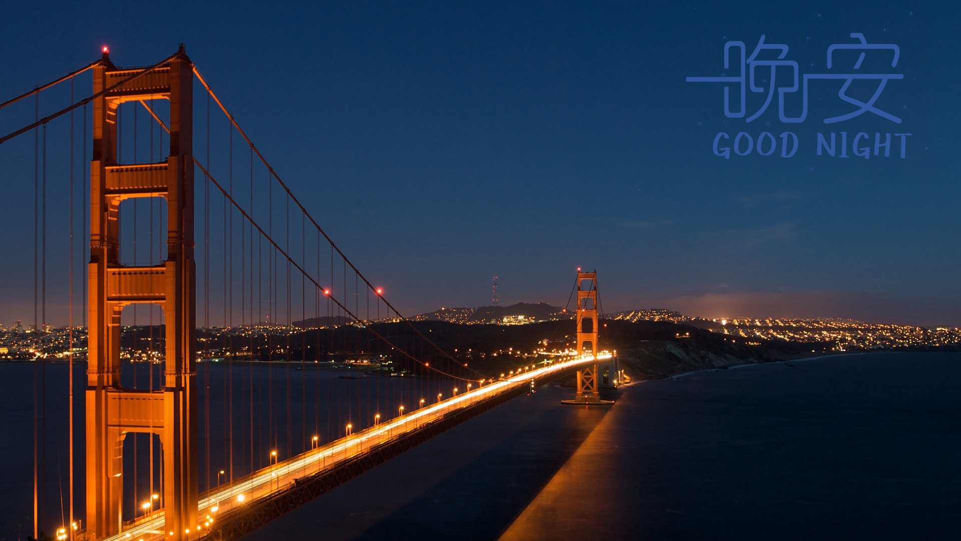 宁静的江面大桥唯美高清壁纸